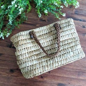 Boho woven basket handbag with braided straps